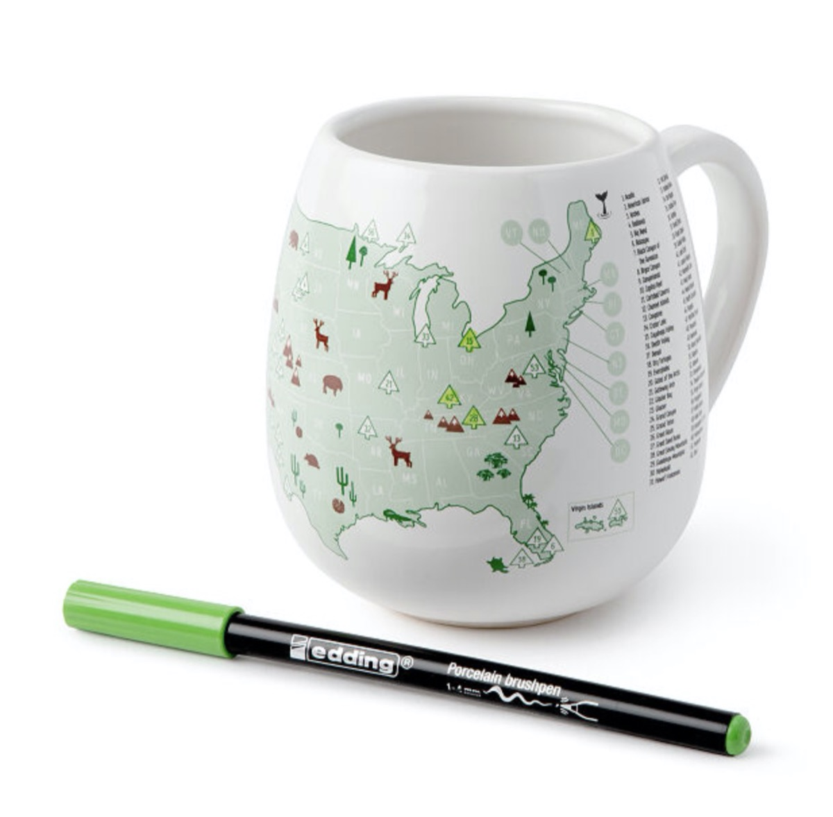 white mug with map of the united states on it in green