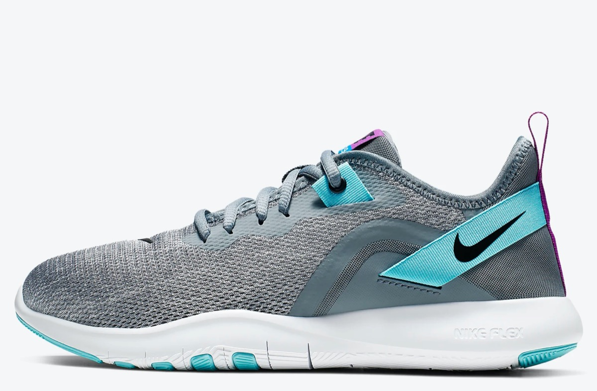 gray and green nike sneakers with white soles