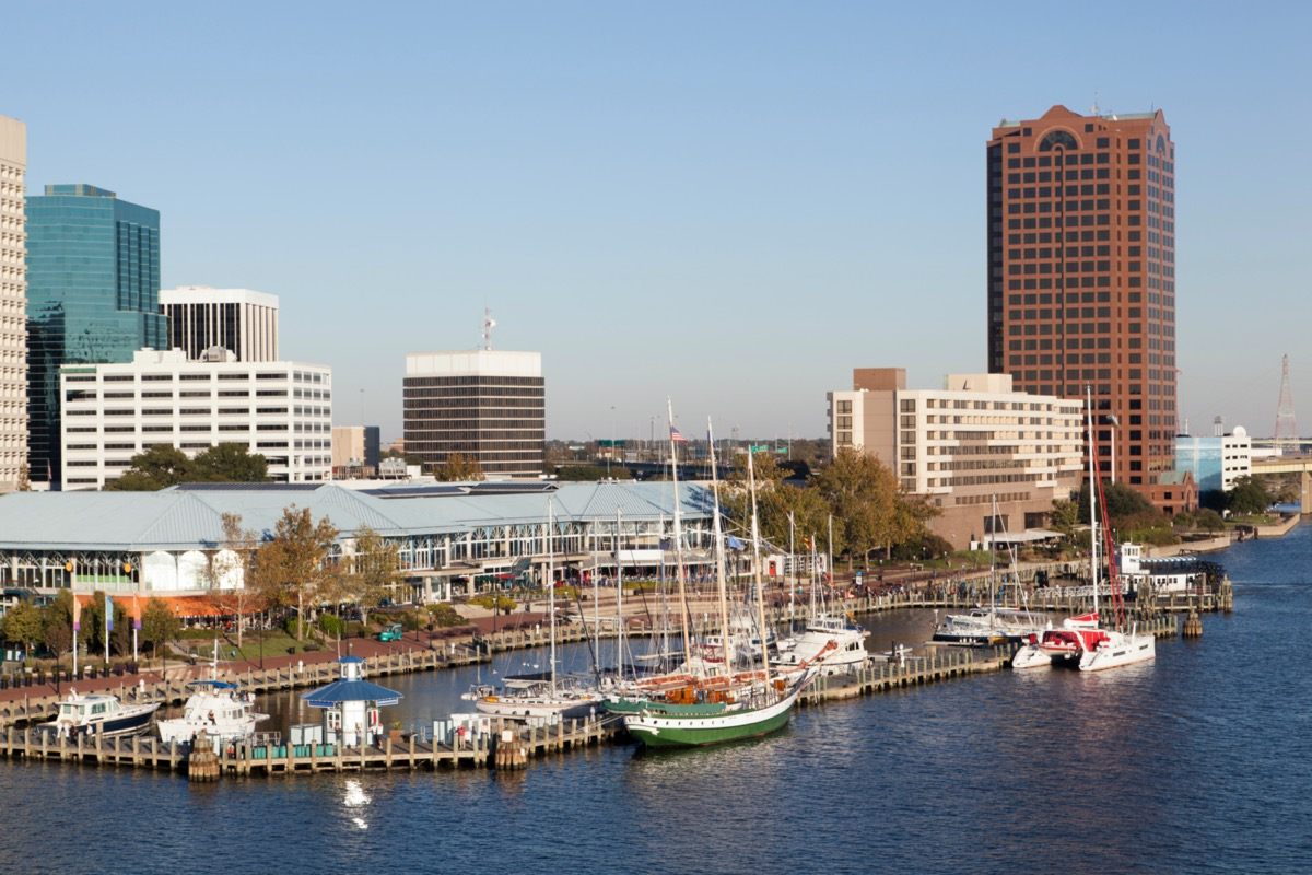 cityscape photo of buildings next to and boats on a lake in Norfolk, Virginia