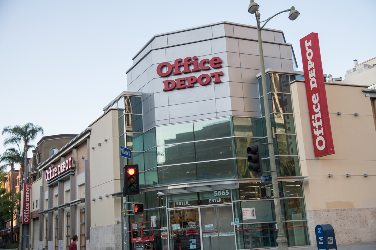 the outside and a sign of an Office Depot store in Los Angeles, California