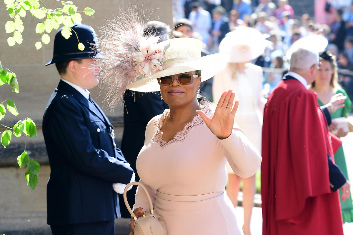Oprah Winfrey arrives at St George's Chapel at Windsor Castle for the wedding of Meghan Markle and Prince Harry.