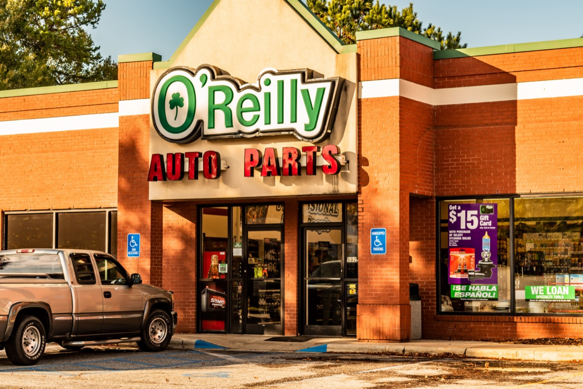 the outside of an O'Reilly Auto Parts store in Salsbury, North Carolina