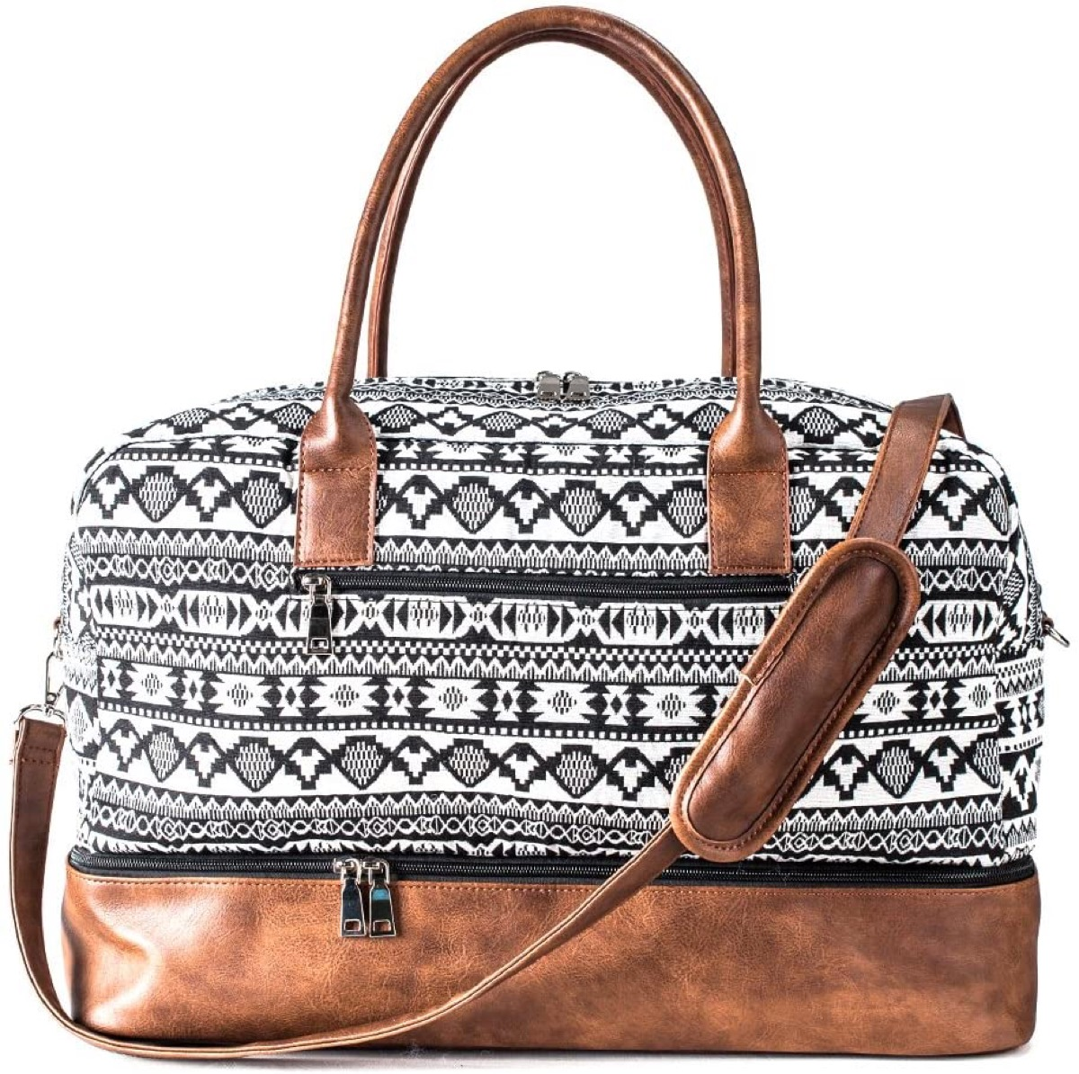 large black and white patterned shoulder bag with brown bottom