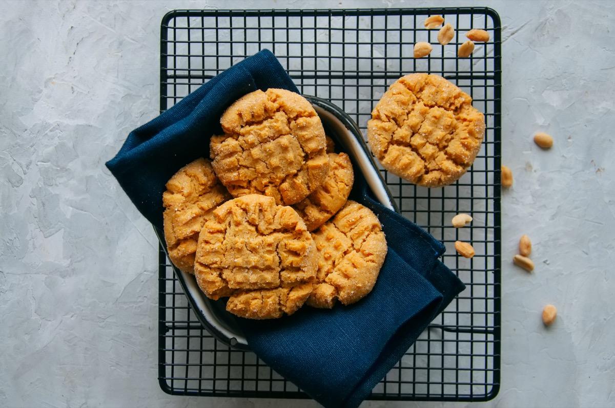 peanut butter cookies on baking rack