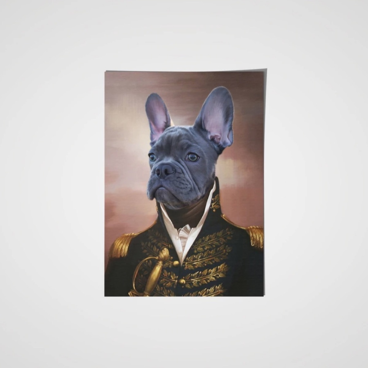 gray french bulldog dressed as a general in a painting