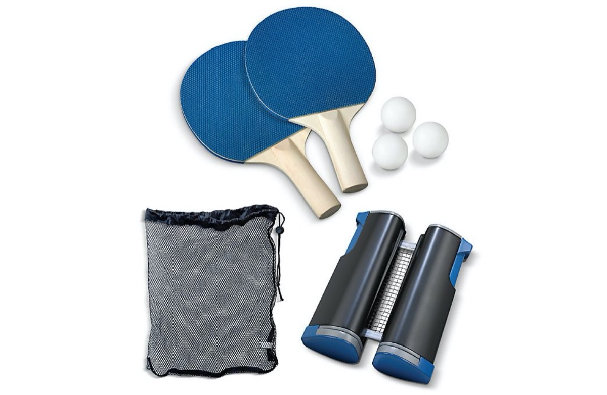 table tennis set with blue paddles