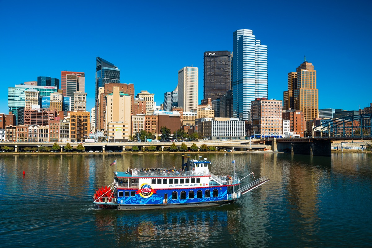 city skyline of and boar crossing river in Pittsburgh, Pennsylvania