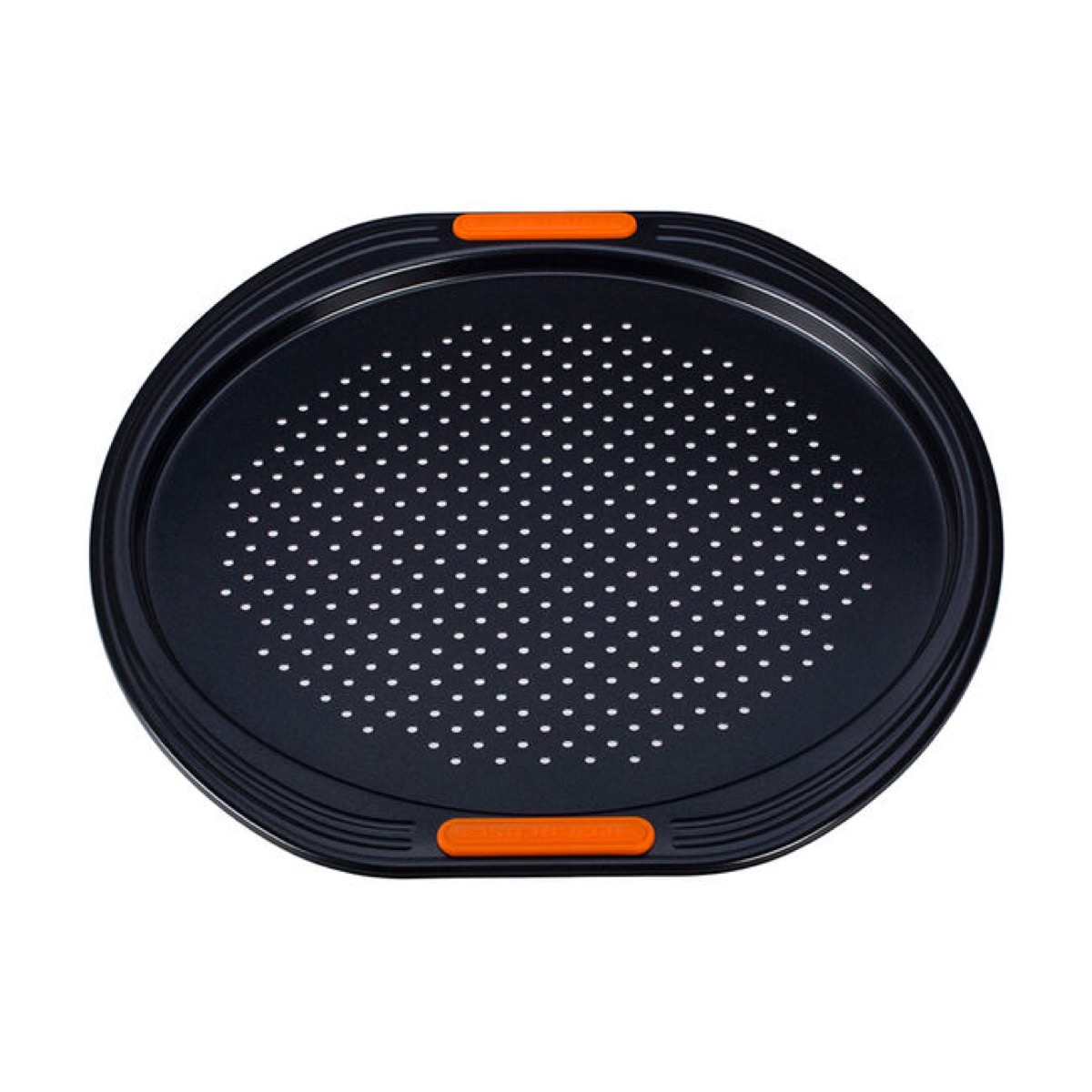black perforated pizza pan with red handles