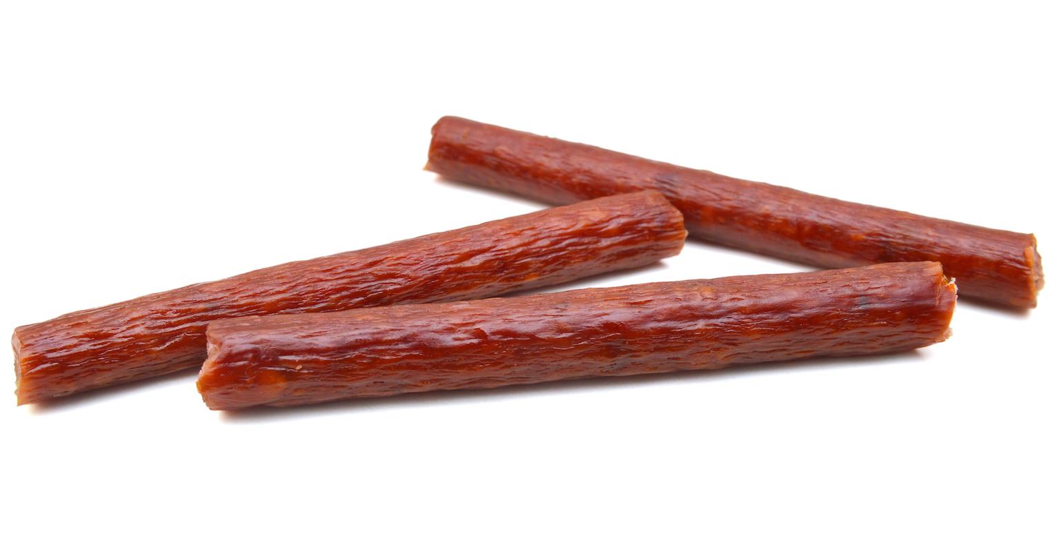 Smoked thin pork meat stick snack