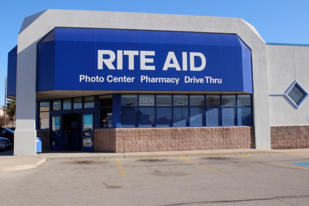 the entrance of and parking lot of a Rite Aid store in Union City, New Jersey