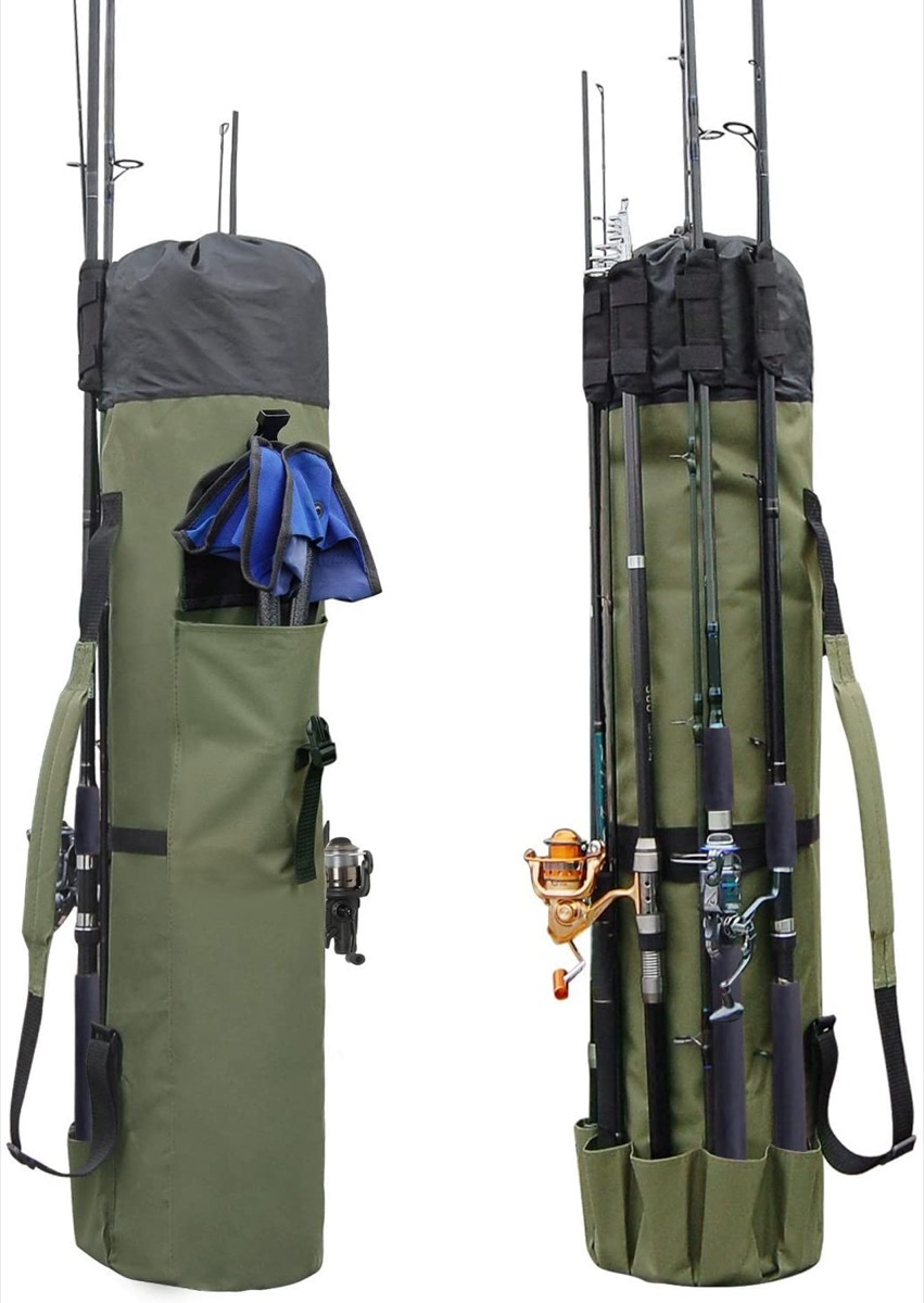 green bag for fishing rod and gear