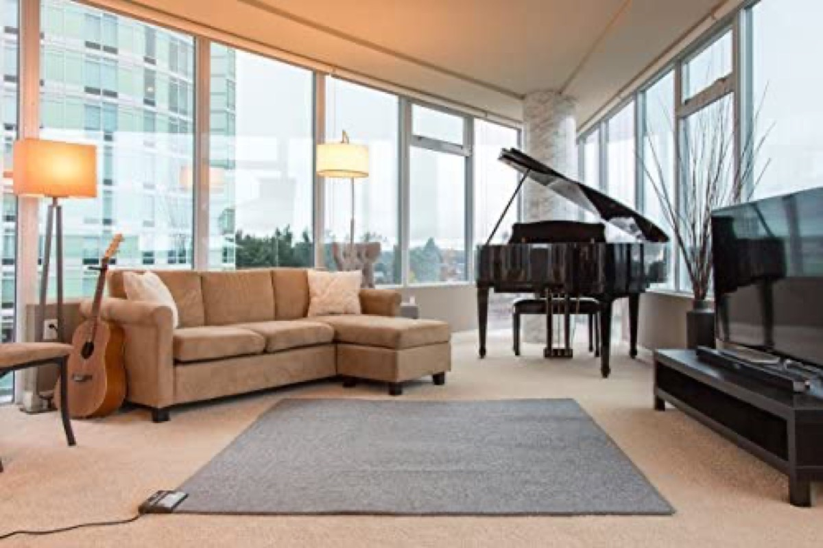 gray rug on floor in modern home