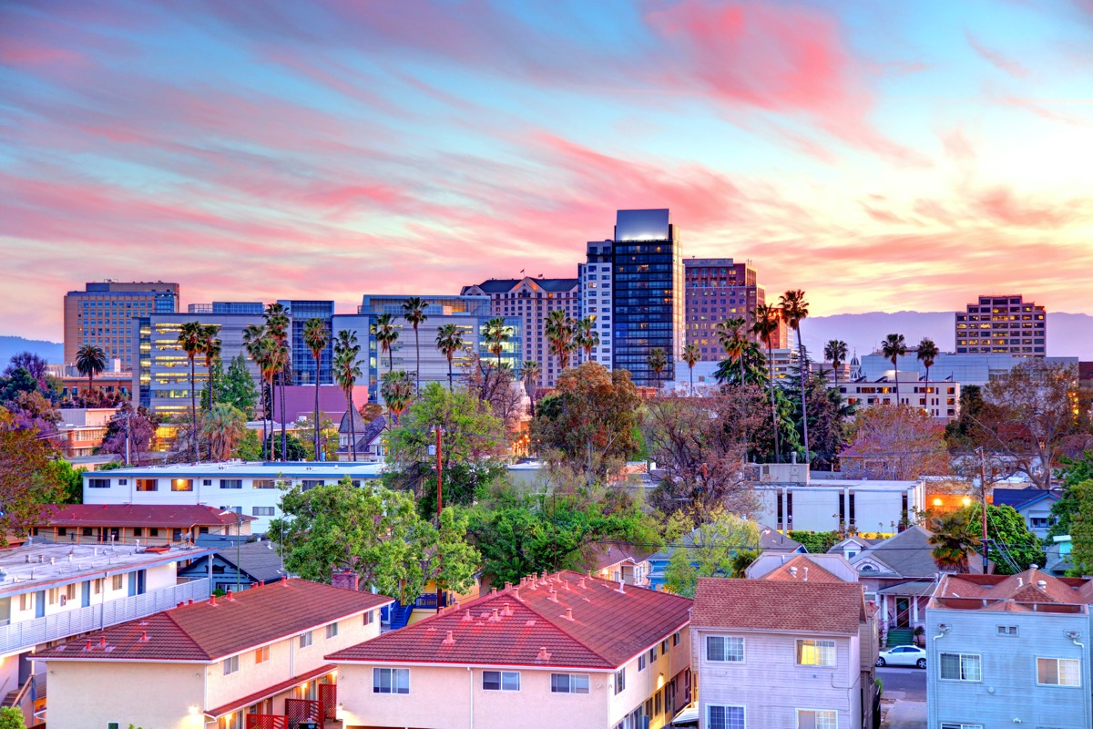 cityscape photo of buildings and houses in San Jose, California at dusk