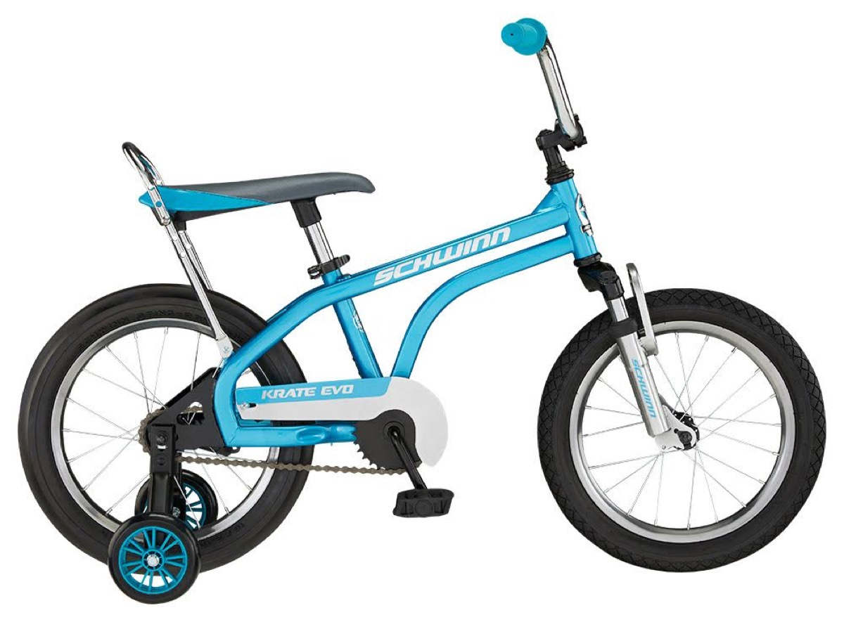 blue bicycle with training wheels
