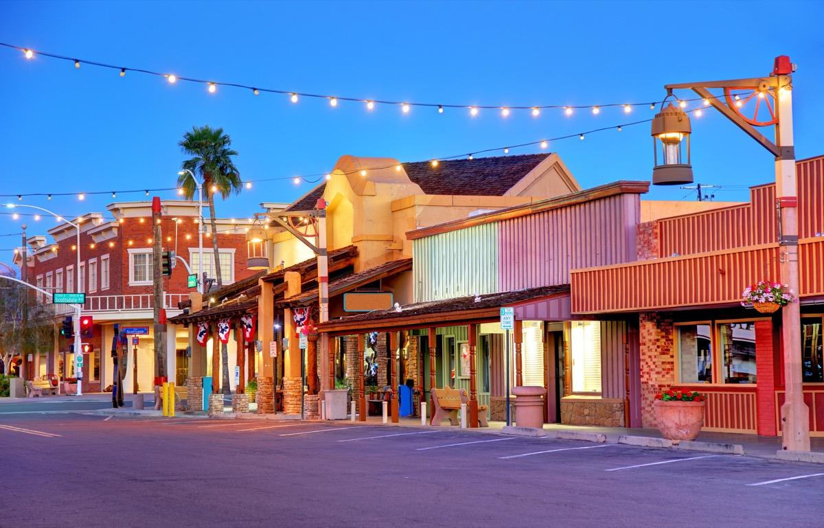 cityscape photo of downtown Scottsdale, Arizona at night