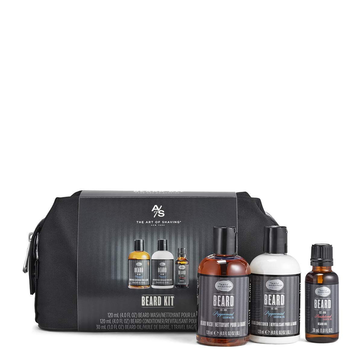 black toiletry bag and bottles of beard products