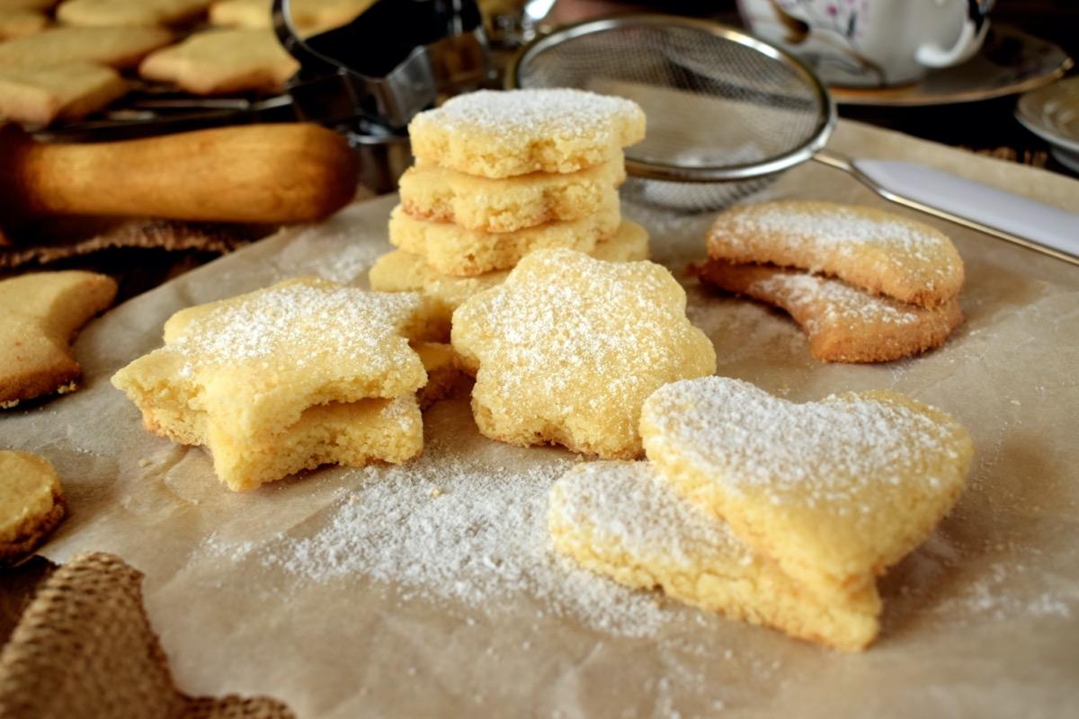 shortbread cookies on linen napkin