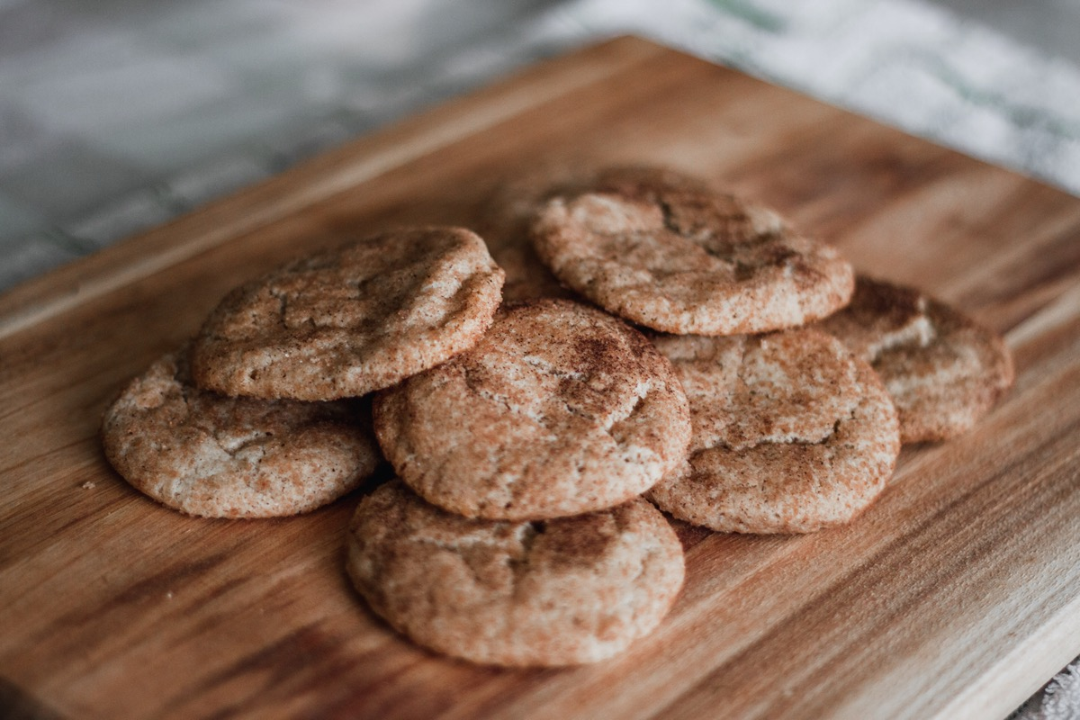 snickerdoodle cookies on wooden cutting board