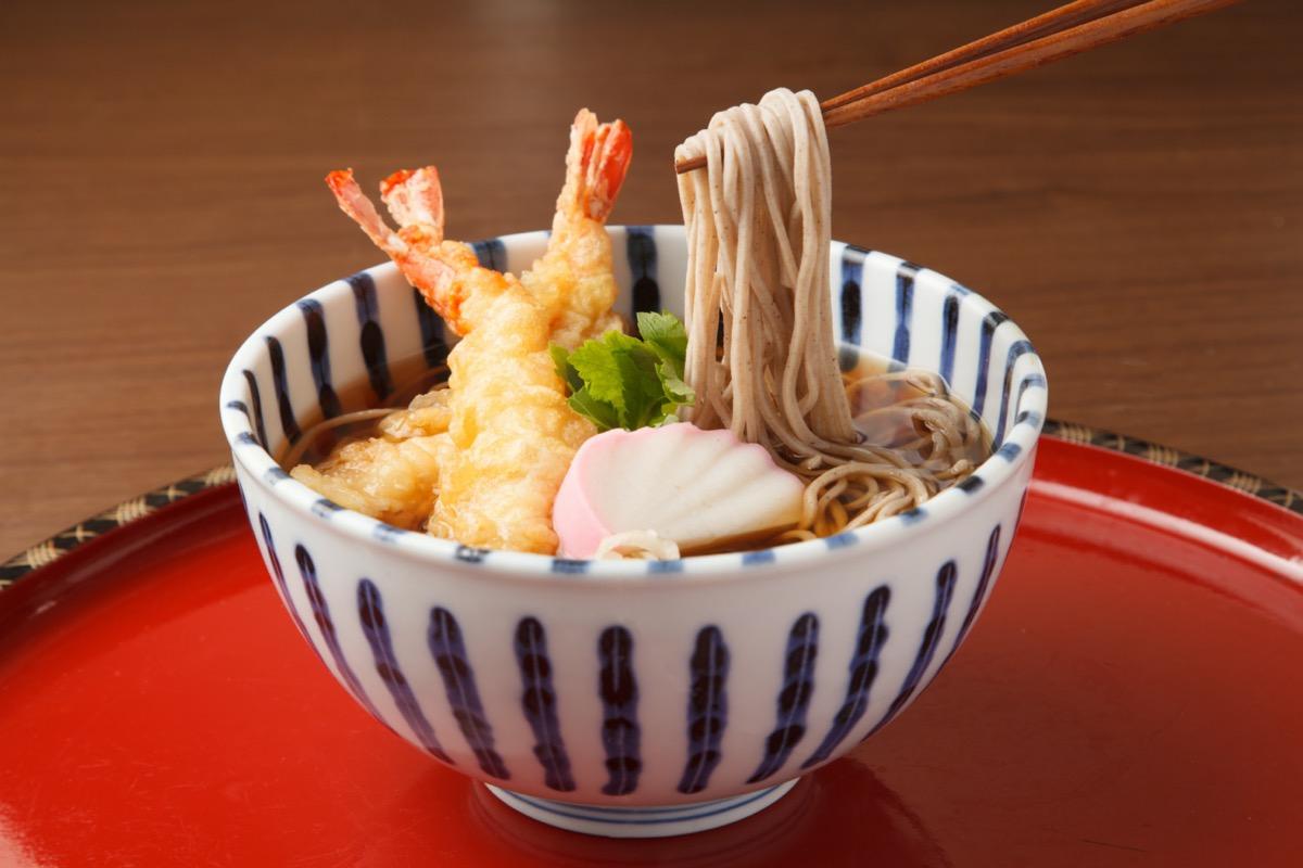 Soba noodles with tempura shrimp