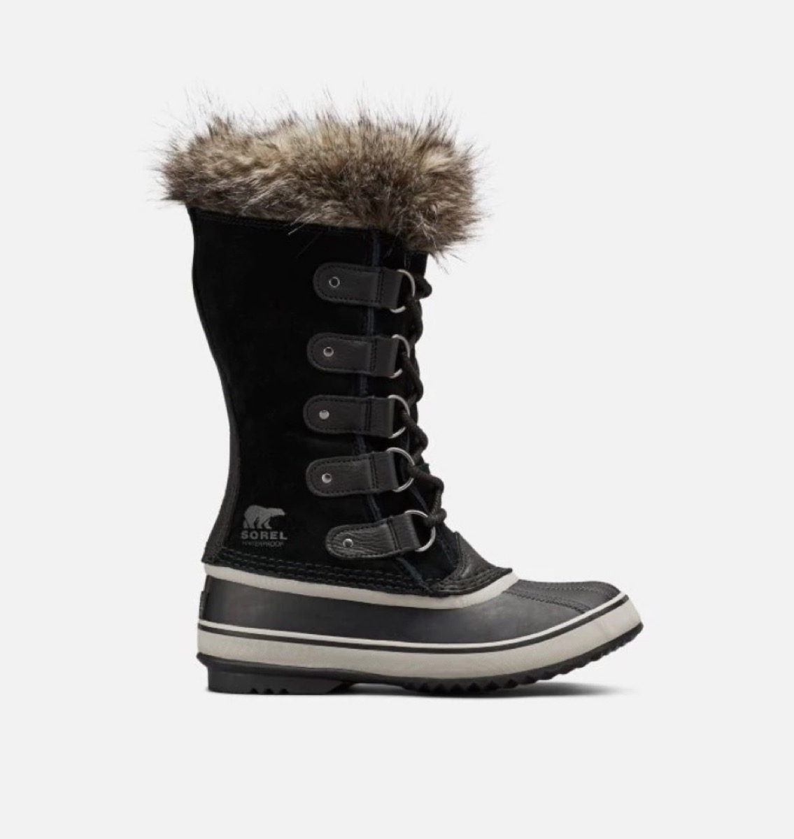 black waterproof boots topped with gray faux fur