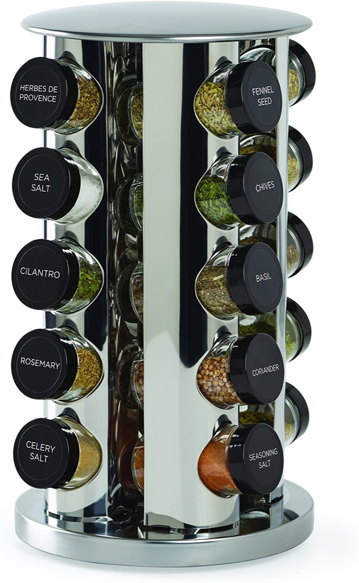 metal rotating vertical spice rack with black lids