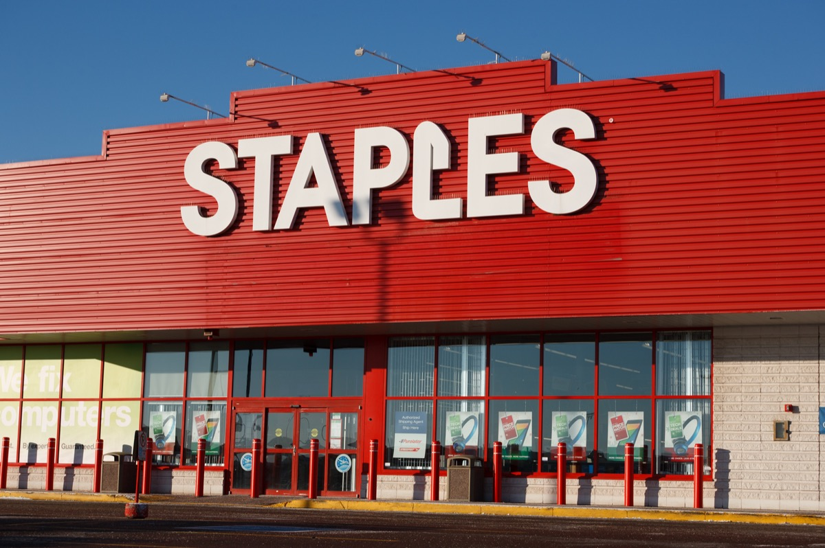 the outside of a Staples store in Truro, Canada
