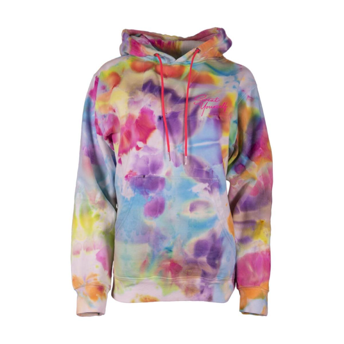 multicolored tie-dyed hooded sweatshirt