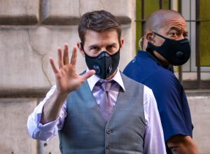 """Actor Tom Cruise wears mask while on set of the new action movie """"Mission Impossible 7""""."""
