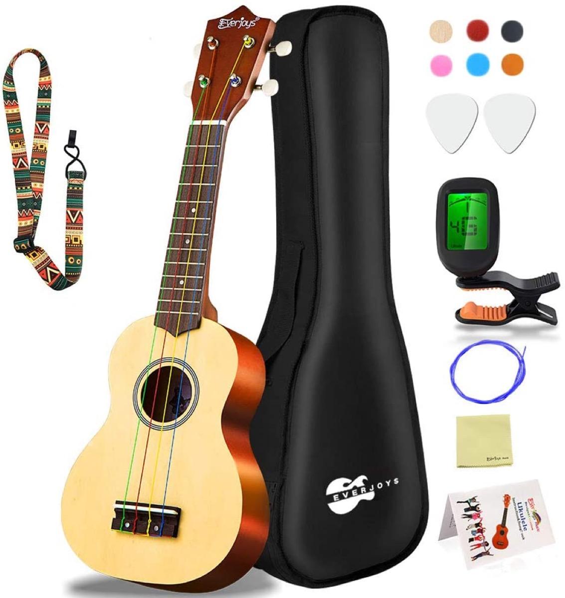 wooden ukulele and black case