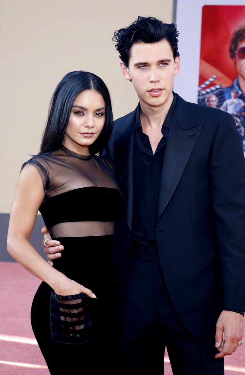 """Vanessa Hudgens and Austin Butler at the premiere of """"Once Upon a Time In Hollywood"""" in 2019"""