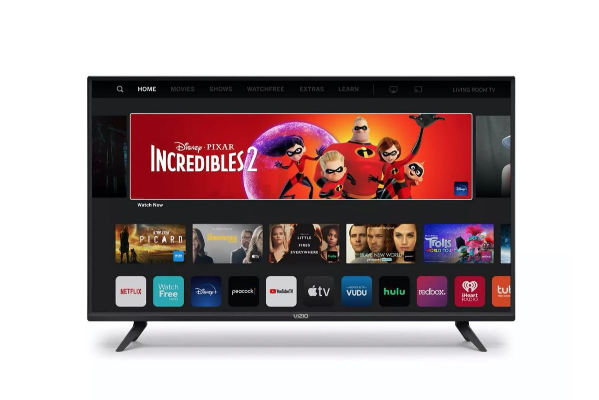 large flatscreen TV with The Incredibles and app logos on it