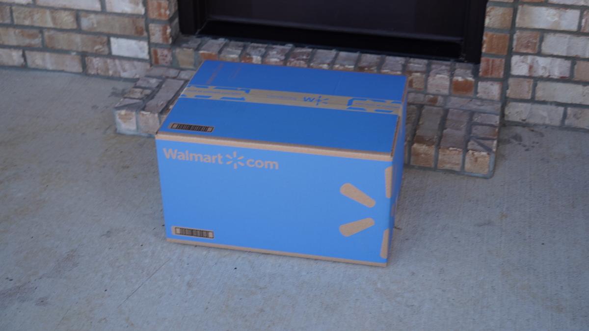 blue walmart box on doorstep