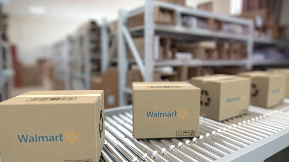 walmart boxes on a conveyor belt