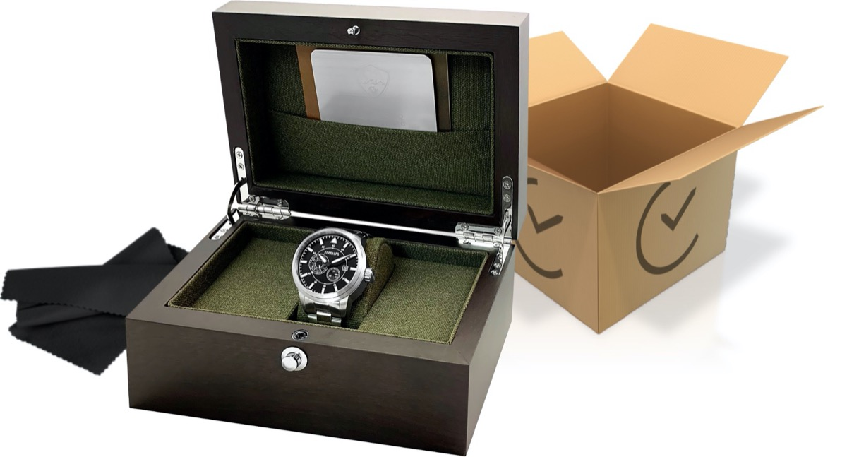 box with silver watch in it