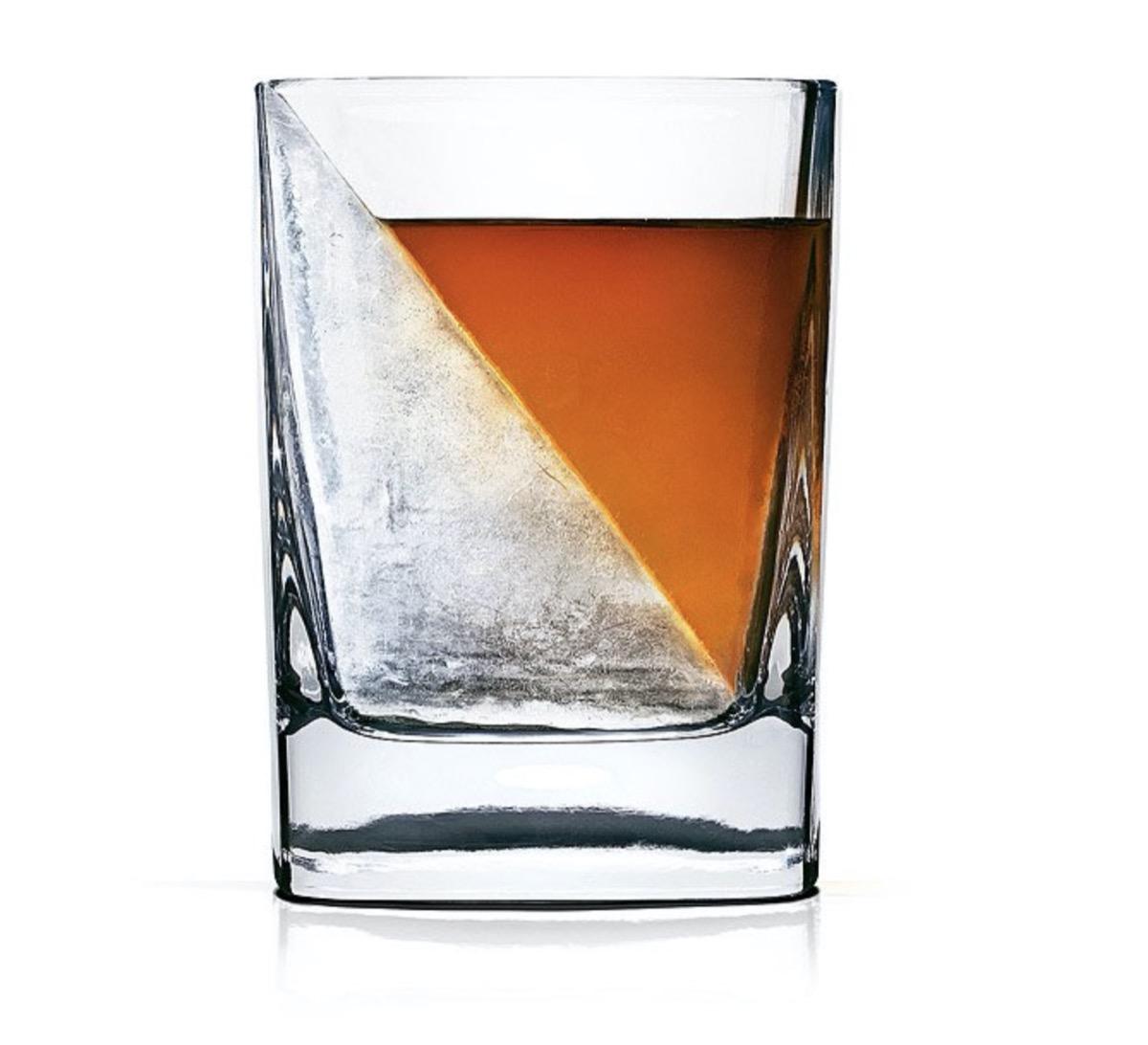 clear glass with an ice wedge and whiskey in it