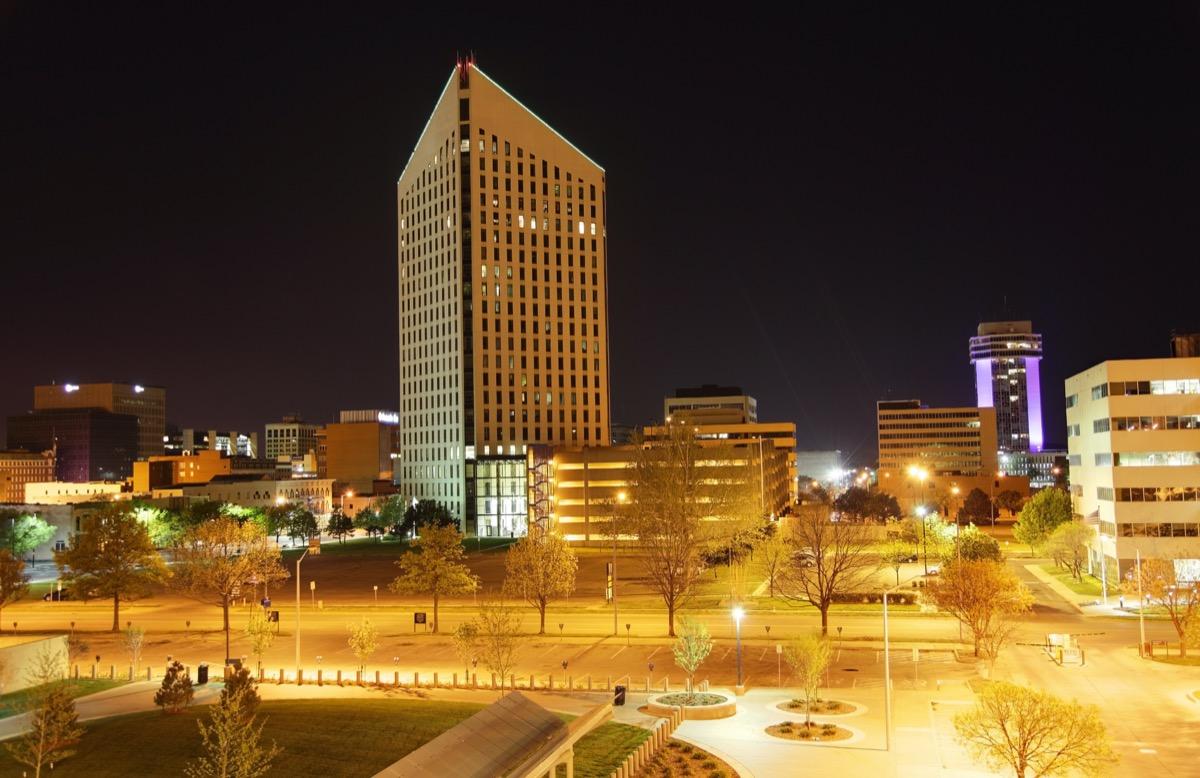 cityscape photo of downtown Wichita, Kansas at night