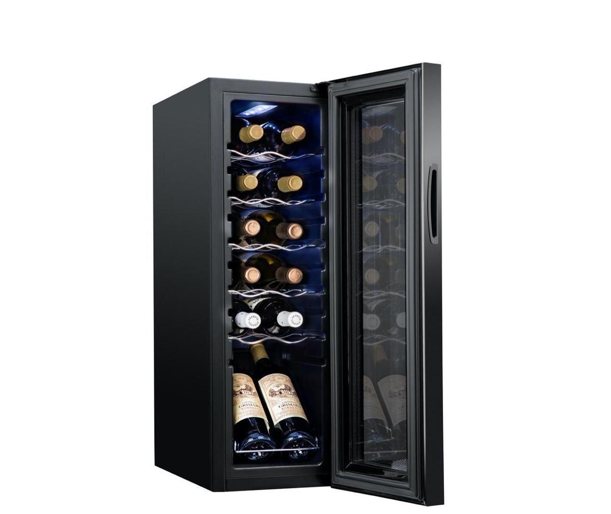 12-bottle black wine bottle mini fridge with door open