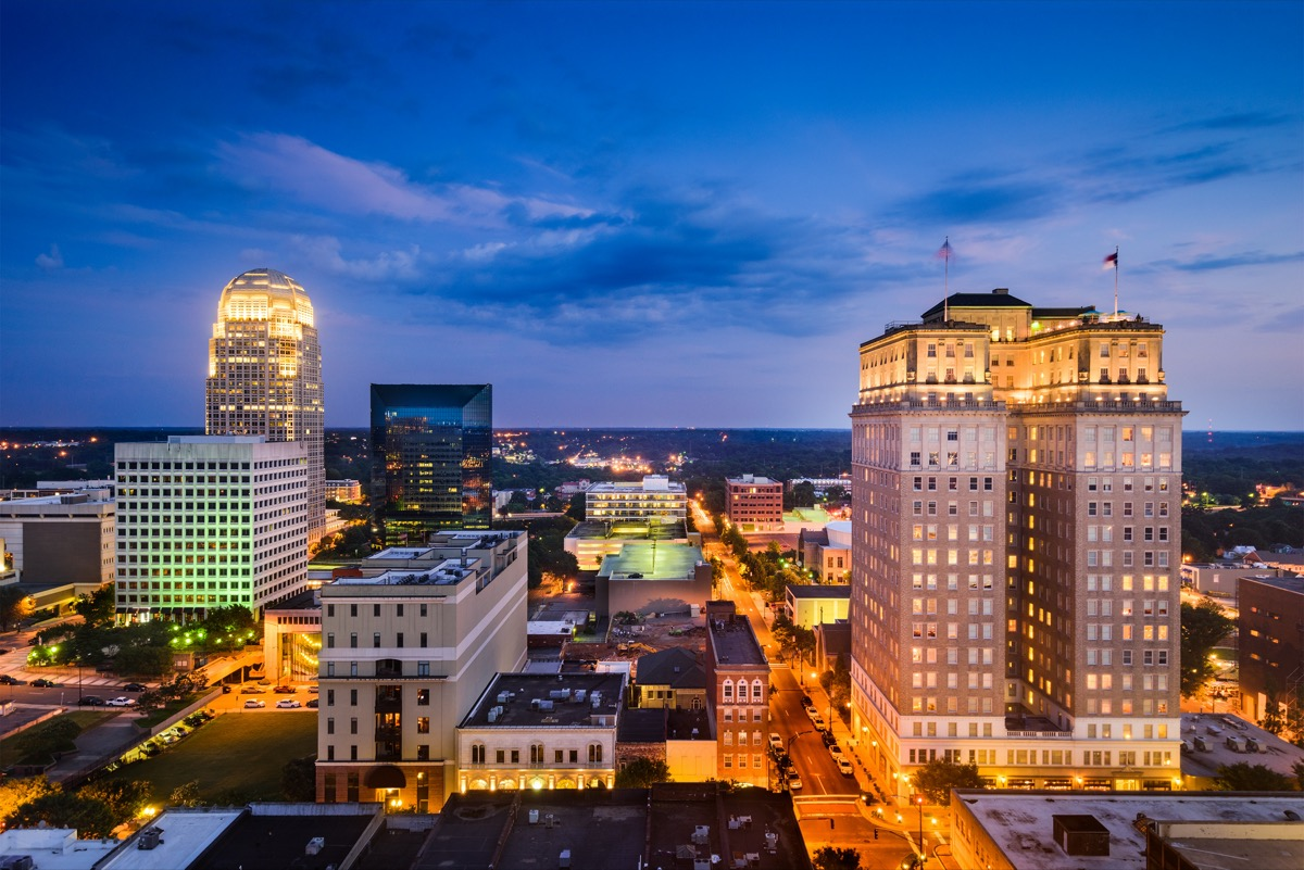 cityscape photo of downtown Winston-Salem, North Caroline at night