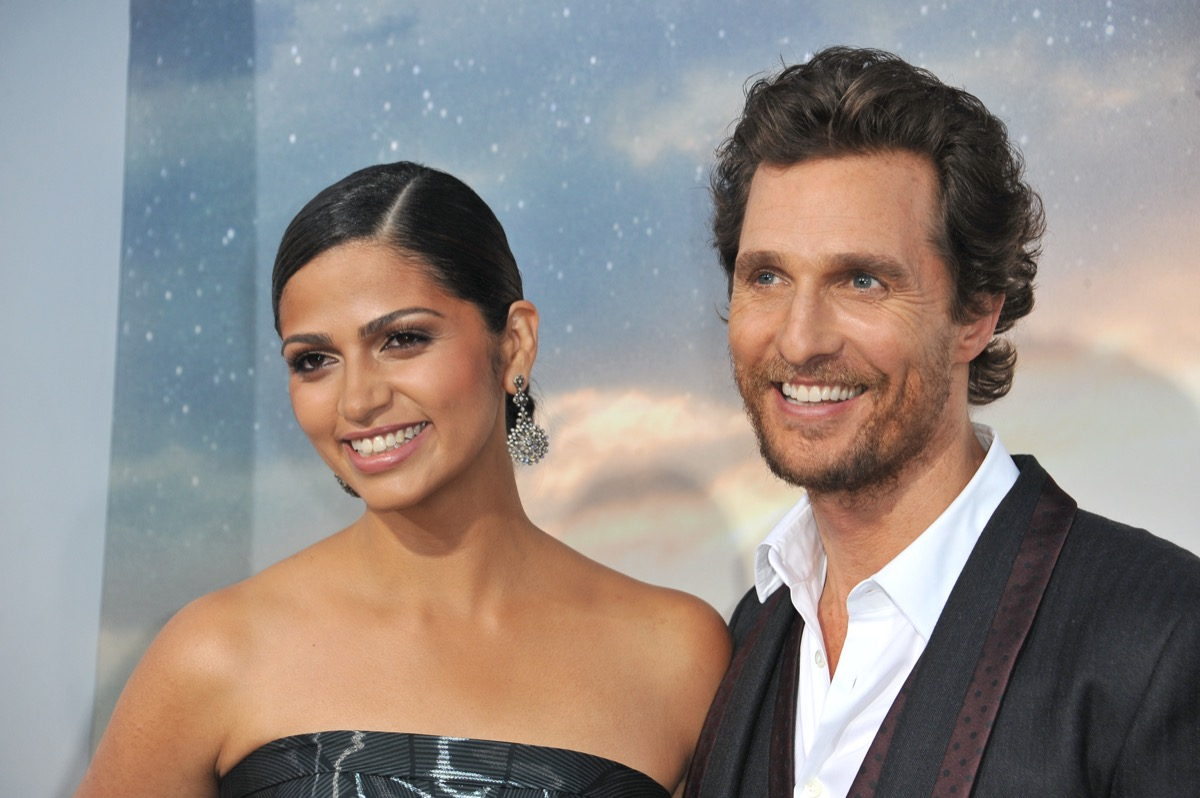 """Camila Alves and Matthew McConaughey at the premiere of """"Interstellar"""" in 2014"""