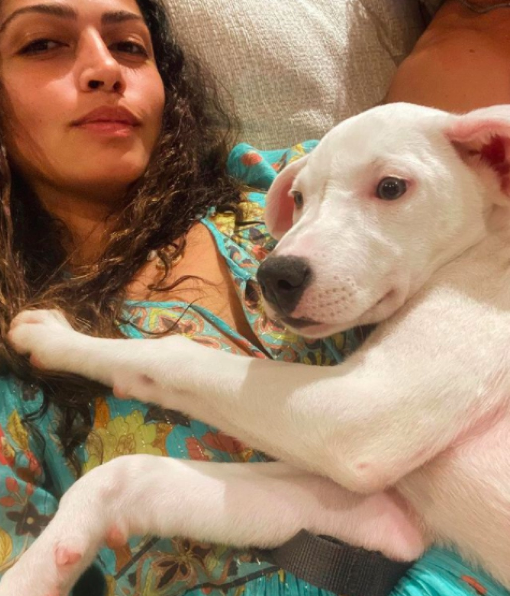 Camila Alves with adopted puppy on Instagram