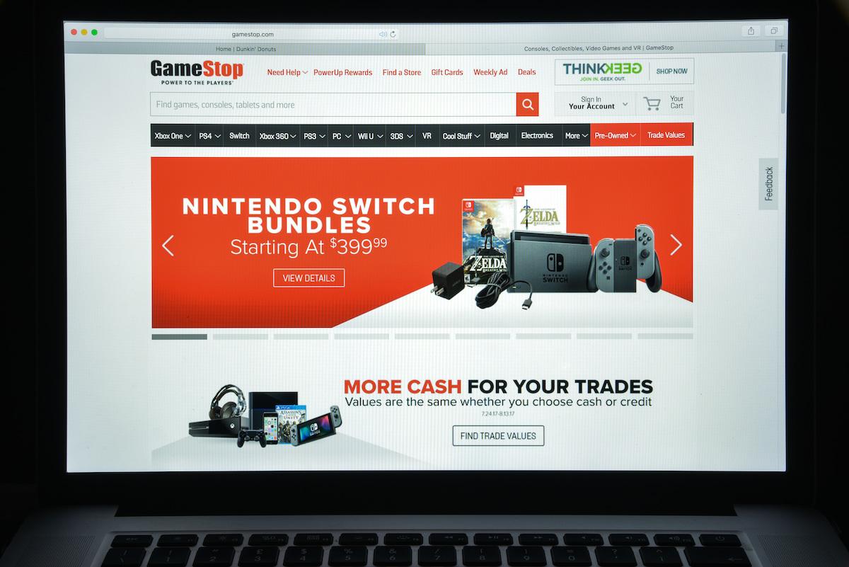 GameStop website on laptop