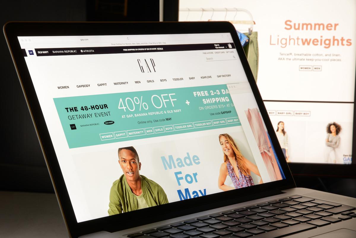 Gap website on laptop