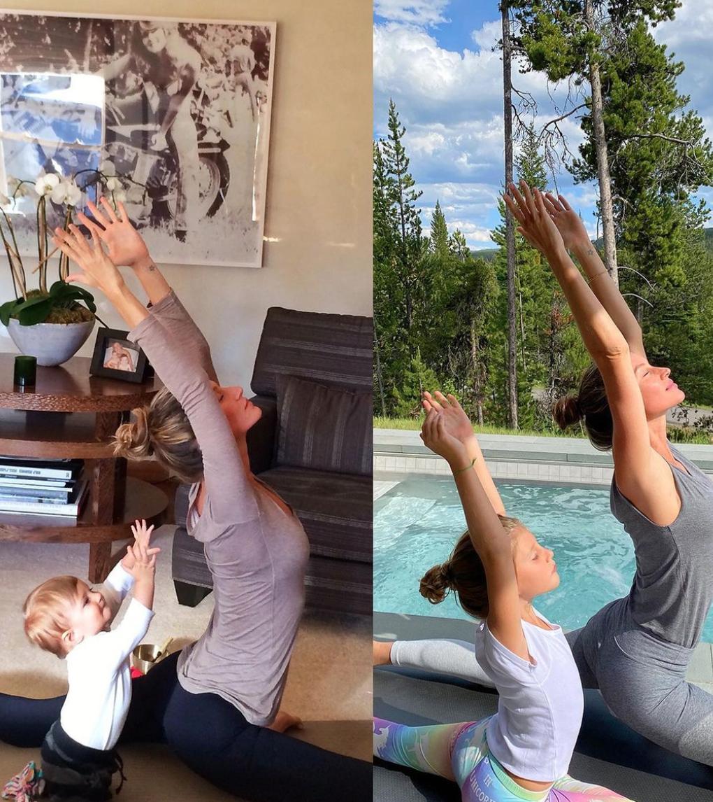 Gisele Bundchen and VIvian yoga