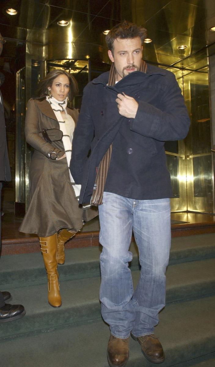 Jennifer Lopez and Ben Affleck leaving a hotel in 2003