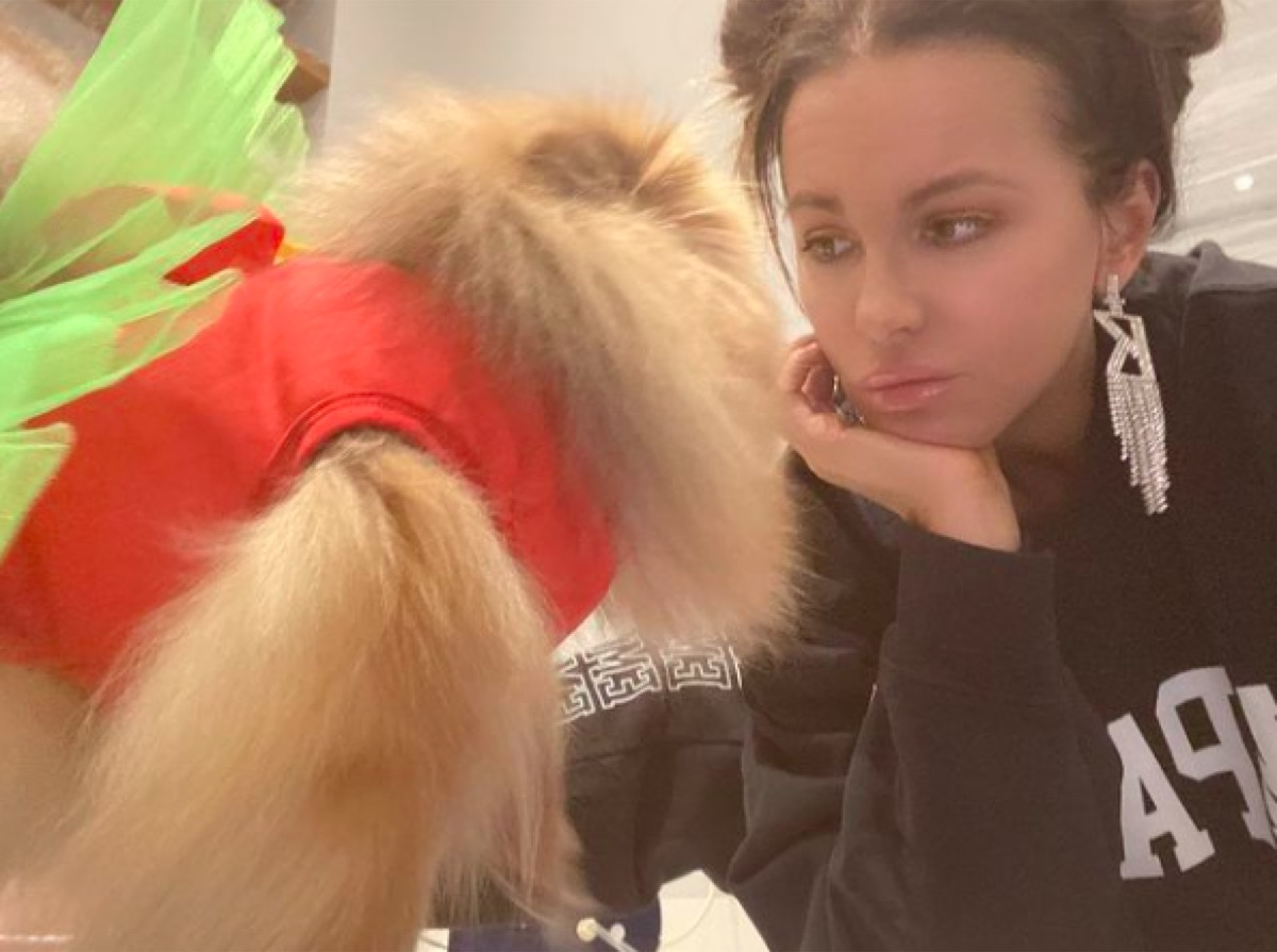 Kate Beckinsale posing with dog on Instagram