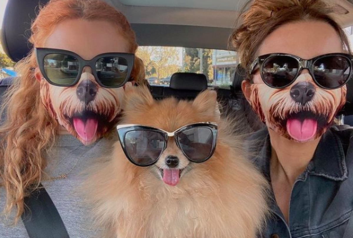 Kate Beckinsale with a friend and her dog on Instagram