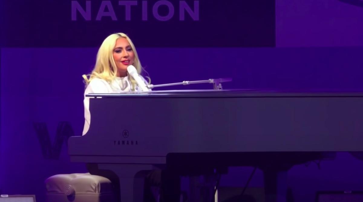 Lady Gaga performing at Joe Biden rally