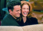 Matthew Perry and Julia Roberts on the Friends set