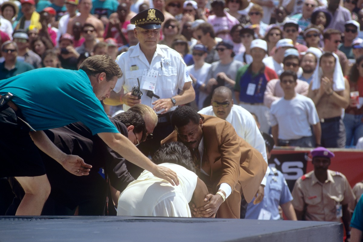Oprah Winfrey falls at the World Cup Opening Ceremony in 1994