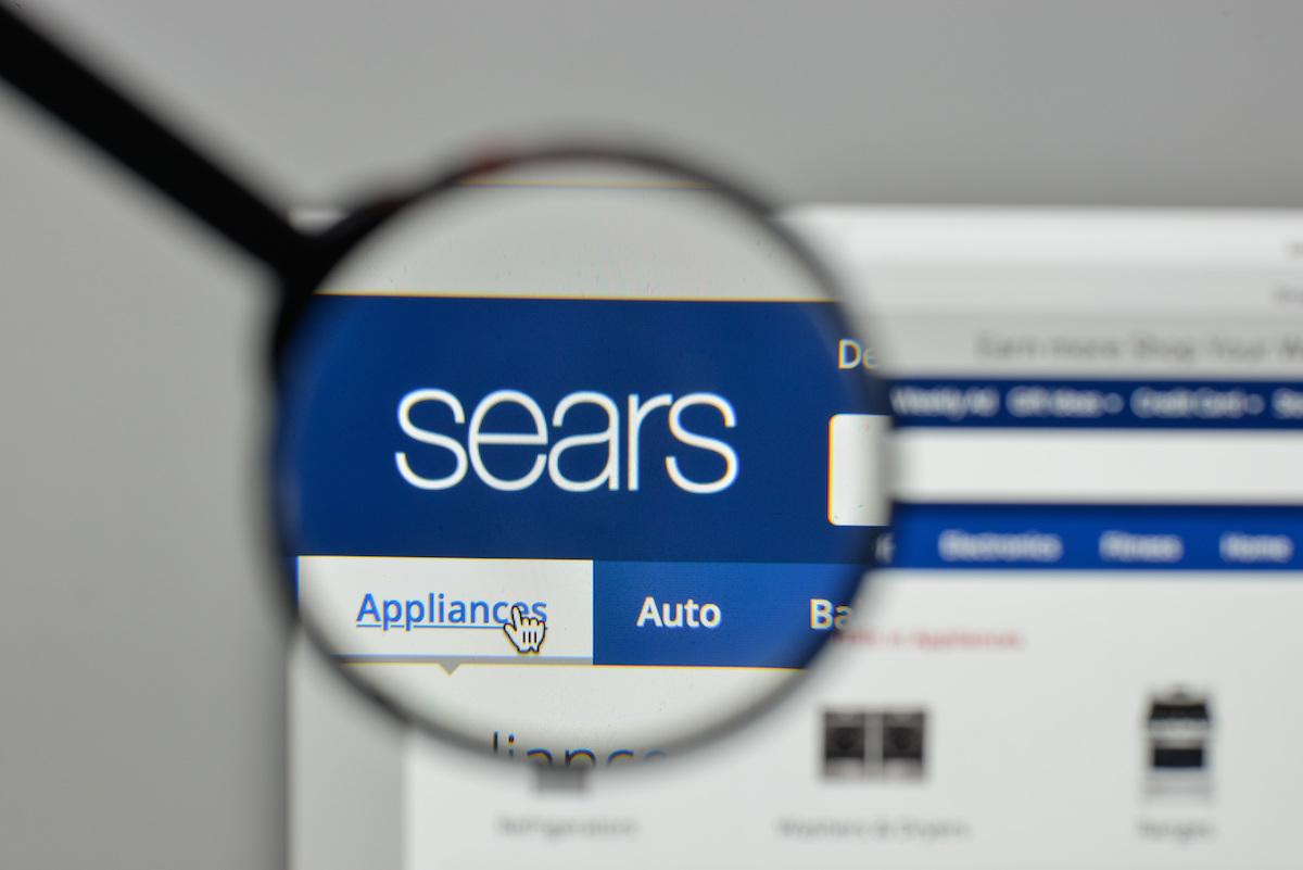 Sears website on laptop
